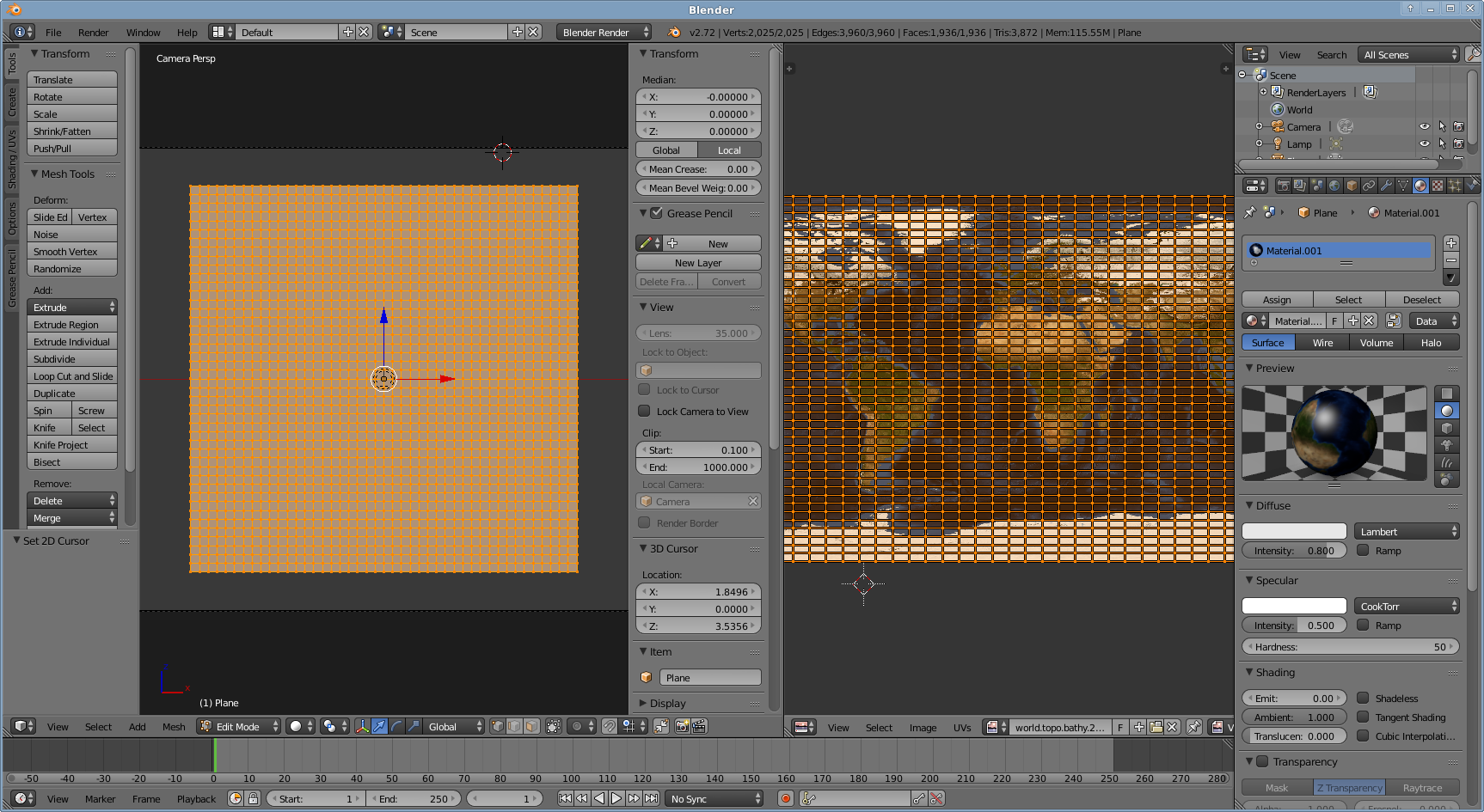 Morphing a map to a sphere in Blender